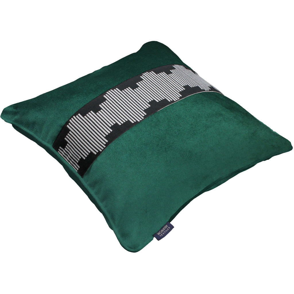 McAlister Textiles Maya Striped Emerald Green Velvet Pillow Pillow