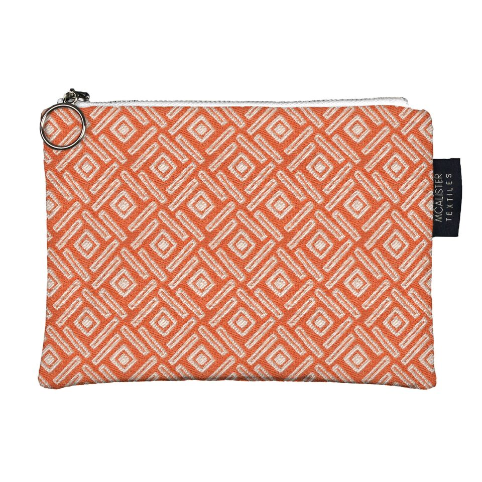 McAlister Textiles Lotta Orange + Grey Makeup Bag Set Clutch Bag