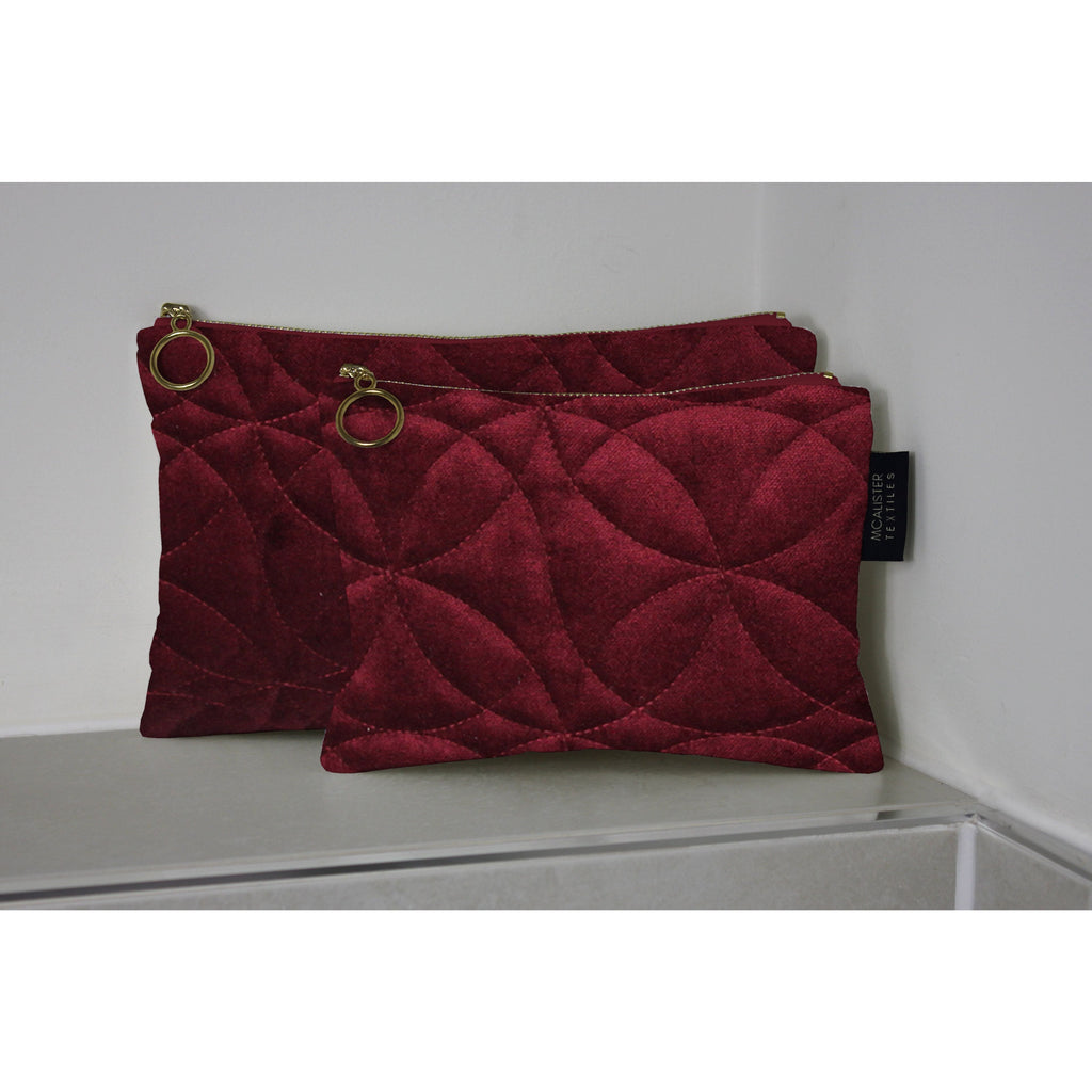 McAlister Textiles Circular Pattern Red Velvet Makeup Bag Set Clutch Bag
