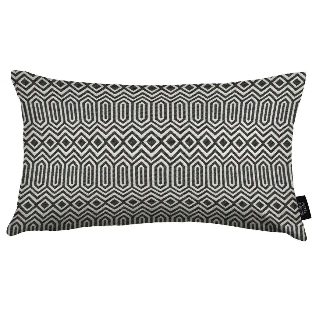 McAlister Textiles Colorado Geometric Boudoir Pillow - Black Cushions and Covers