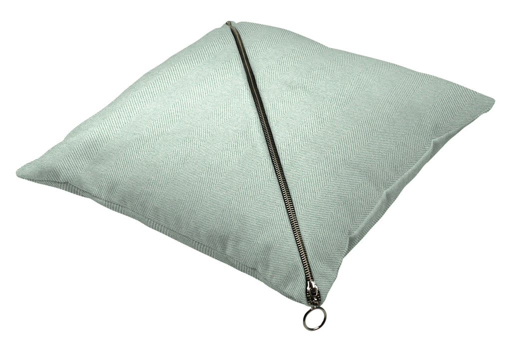 McAlister Textiles Herringbone Diagonal Zip Duck Egg Blue Cushion Cushions and Covers