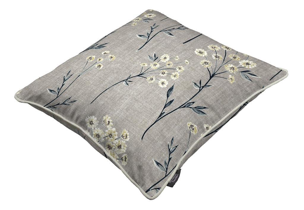 McAlister Textiles Meadow Soft Grey Floral Cotton Print Cushions Cushions and Covers
