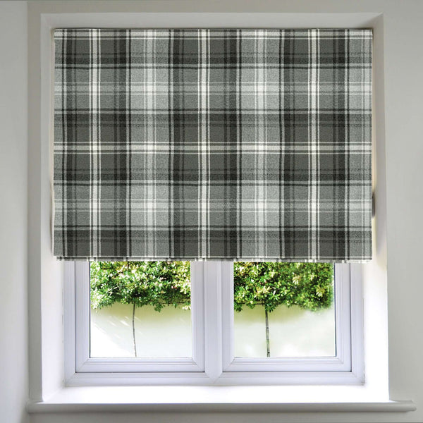 McAlister Textiles Angus Tartan Check Charcoal Grey Roman Blind Roman Blinds Standard Lining 130cm x 200cm