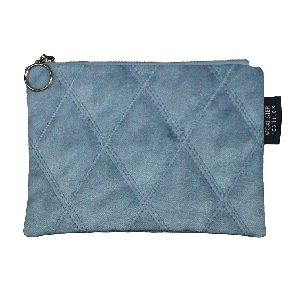 McAlister Textiles Diamond Pattern Blue Velvet Makeup Bag Clutch Bag