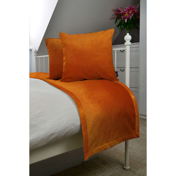 McAlister Textiles Matt Burnt Orange Velvet Bedding Set Bedding Set Runner (50x240cm) + 2x Cushion Covers