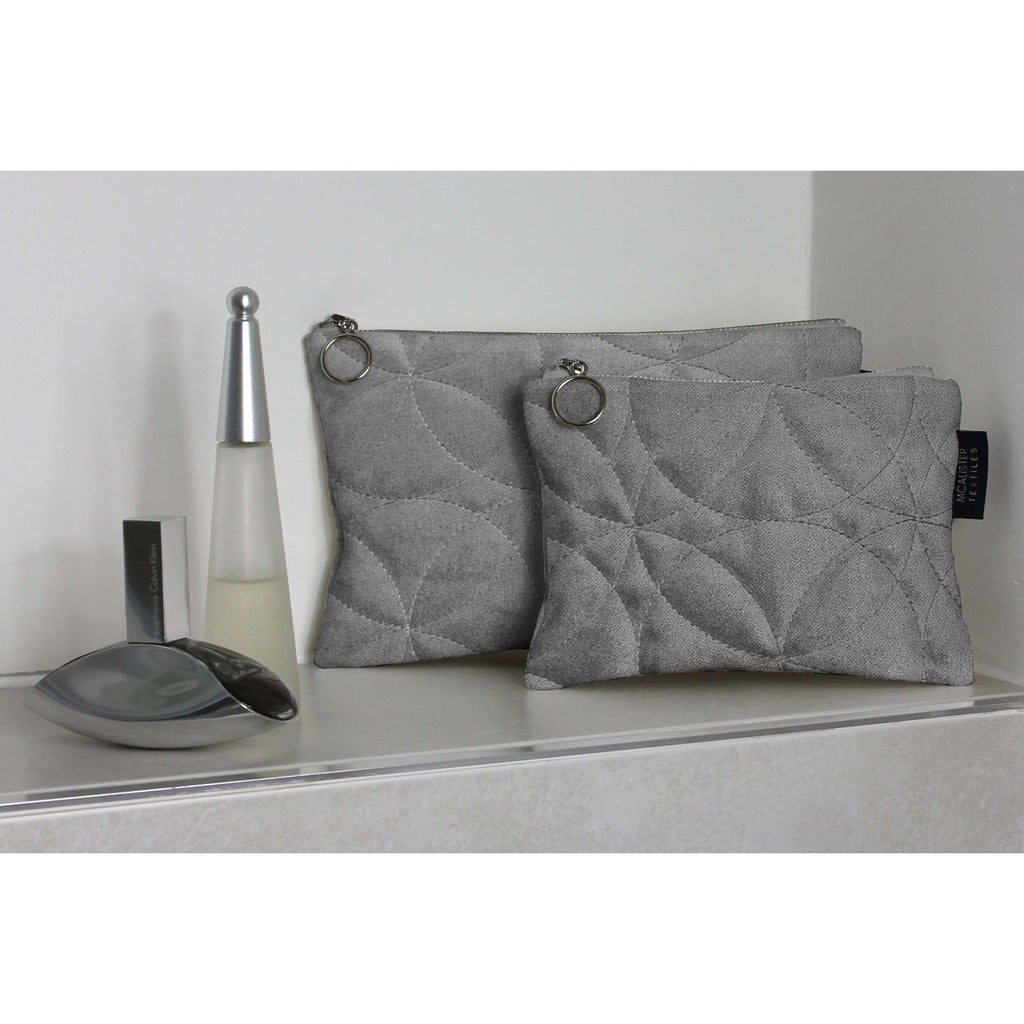 McAlister Textiles Circular Pattern Silver Velvet Makeup Bag Set Clutch Bag