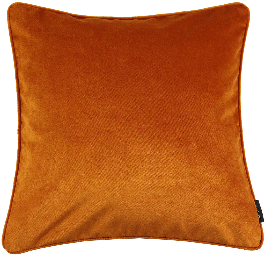 McAlister Textiles Matt Burnt Orange Velvet 43cm x 43cm Cushion Sets Cushions and Covers