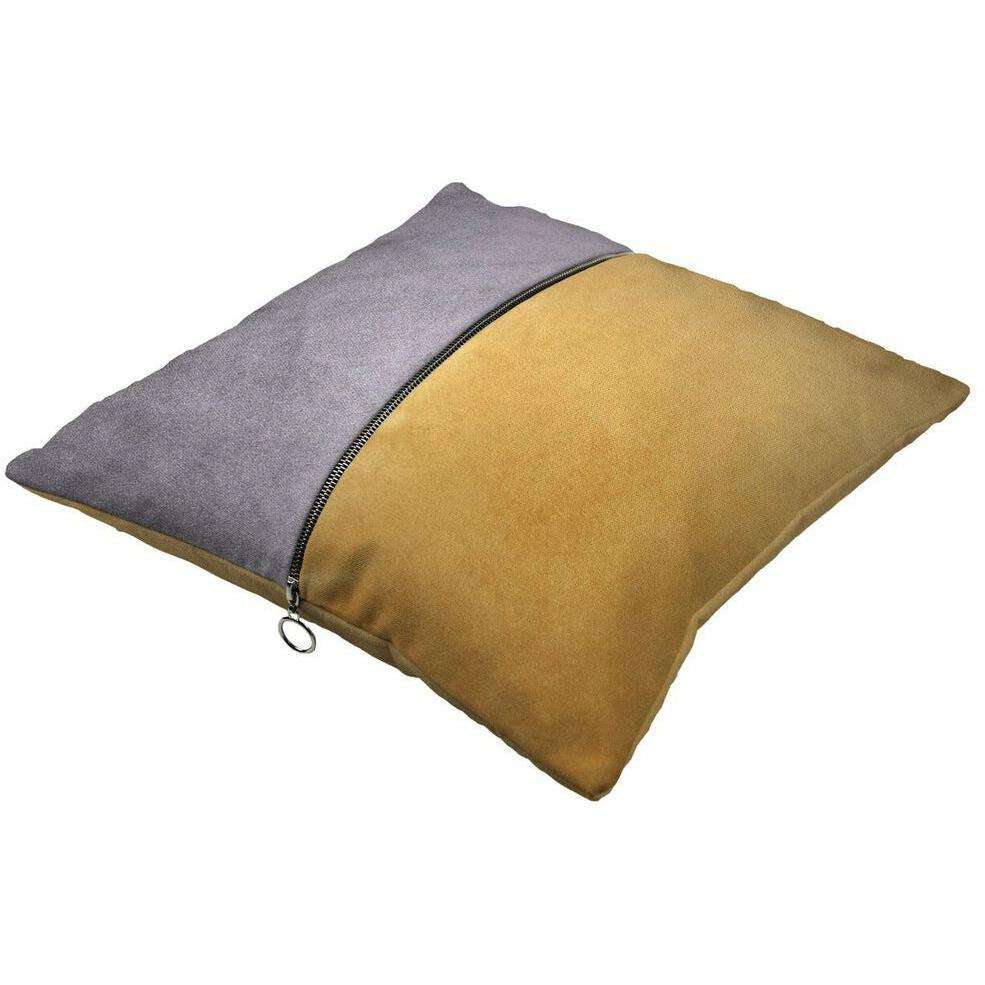 McAlister Textiles Decorative Zip Yellow + Grey Velvet Cushion Cushions and Covers