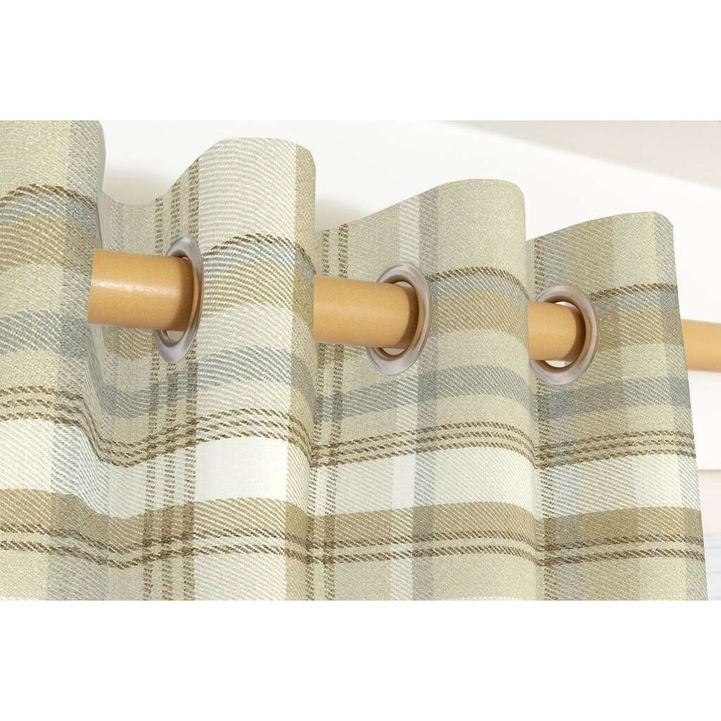McAlister Textiles Heritage Beige Cream Tartan Curtains Tailored Curtains