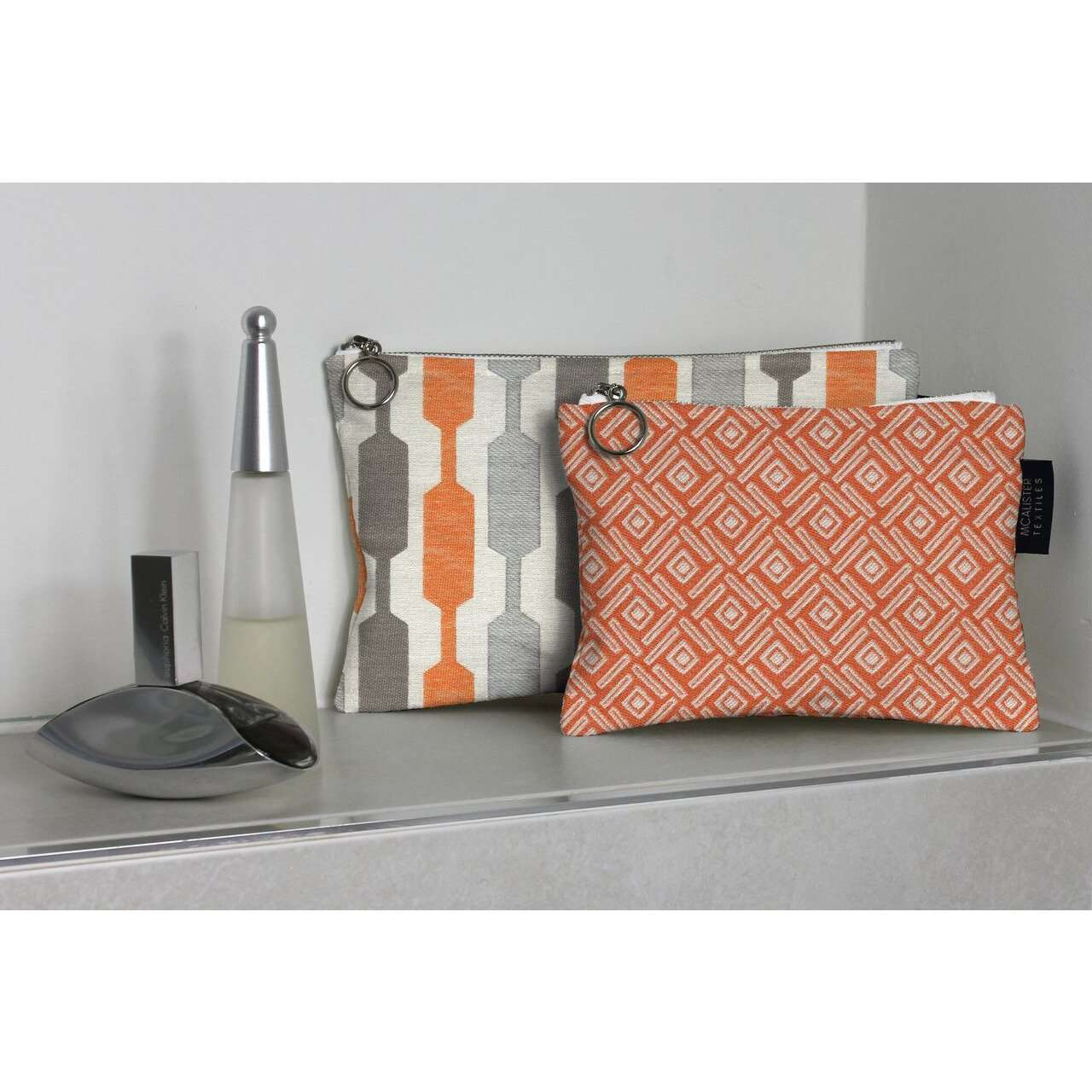 McAlister Textiles Lotta Orange + Teal Makeup Bag - Large Clutch Bag