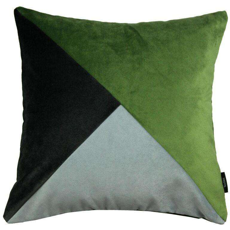 McAlister Textiles Diagonal Patchwork Velvet Green, Silver + Grey Cushion Cushions and Covers Cover Only 43cm x 43cm