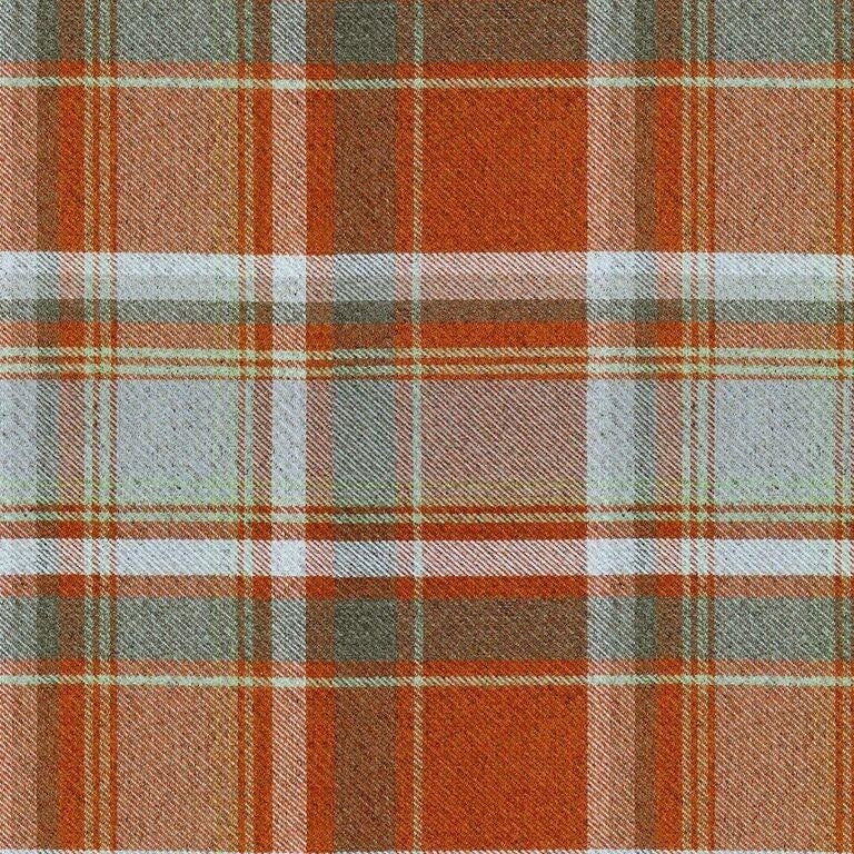 McAlister Textiles Heritage Burnt Orange + Grey Tartan Curtains Tailored Curtains