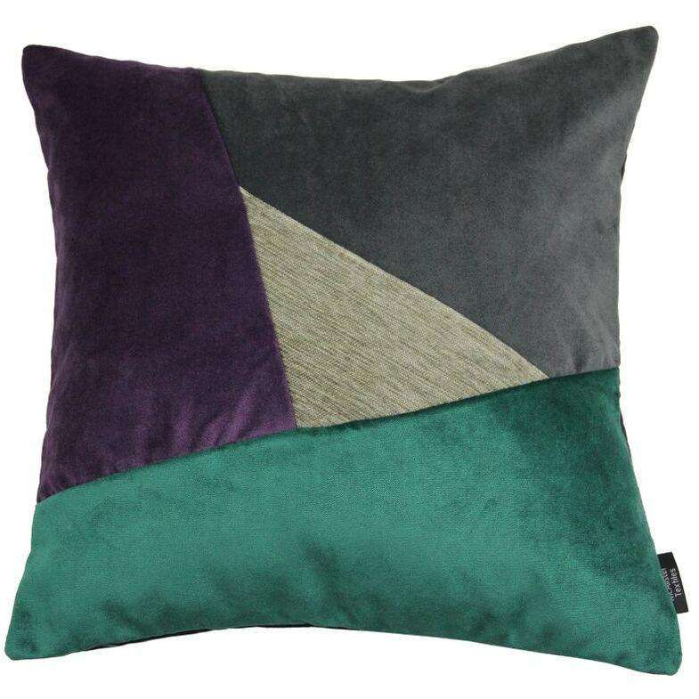 McAlister Textiles Triangle Patchwork Velvet Purple, Green + Grey Cushion Cushions and Covers Cover Only 43cm x 43cm