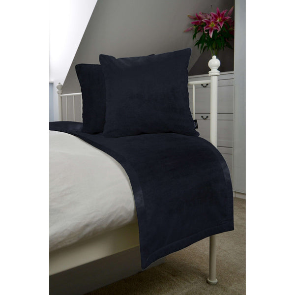 McAlister Textiles Matt Black Velvet Bedding Set Bedding Set Runner (50x240cm) + 2x Cushion Covers