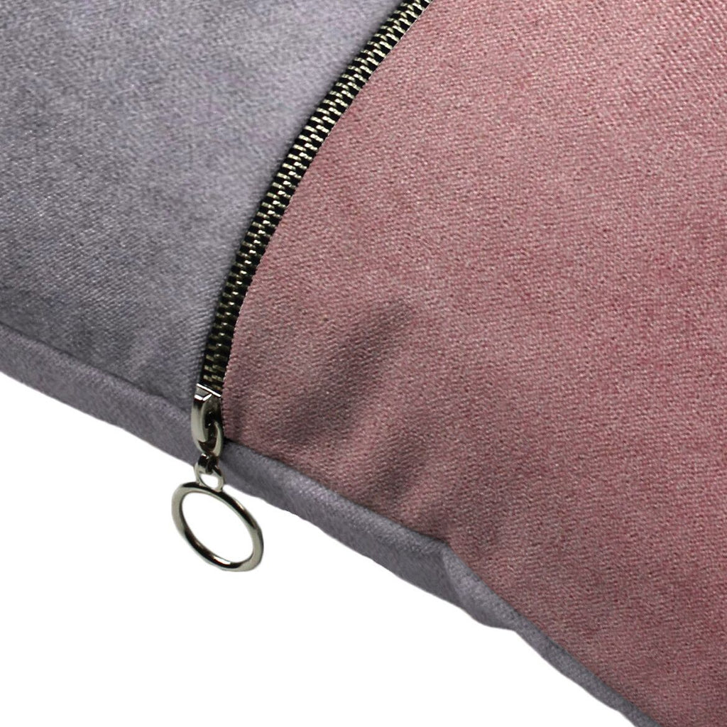 McAlister Textiles Decorative Zip Pink + Grey Velvet Cushion Cushions and Covers