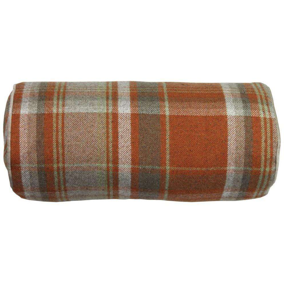 McAlister Textiles Boutique Deluxe Heritage Tartan Bolster Pillow | Burnt Orange and Beige-Bolster Cushion-
