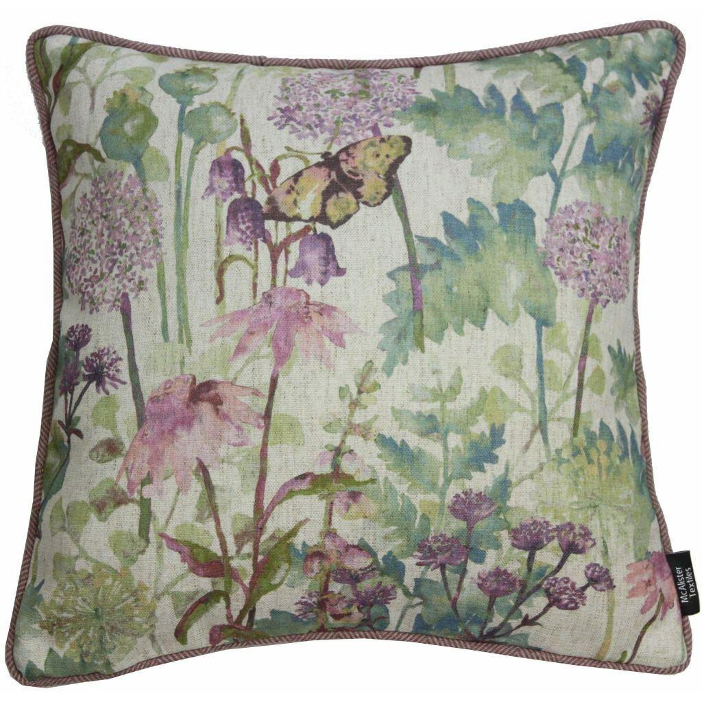 McAlister Textiles Wildflower Pastel Purple Linen Cushion Cushions and Covers Polyester Filler 43cm x 43cm