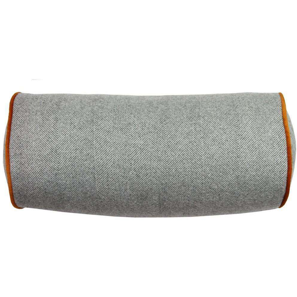 McAlister Textiles Deluxe Herringbone Grey + Orange Bolster Pillow 45cm x 20cm Bolster Cushion