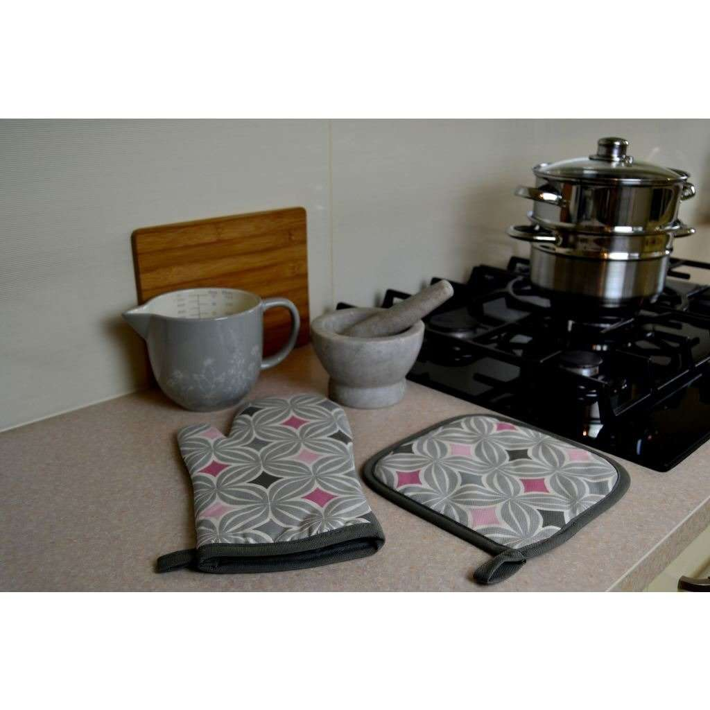 McAlister Textiles Laila Pink Cotton Print Double Oven Mitts Kitchen Accessories