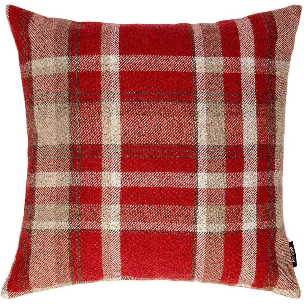 McAlister Textiles Woven Heritage Signature Tartan Check Wool Look Fabric Cushion Pillow Cover Red