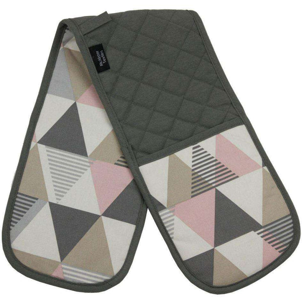McAlister Textiles Vita Geometric Cotton Oven Glove Mitts - Blush Pink Kitchen Accessories