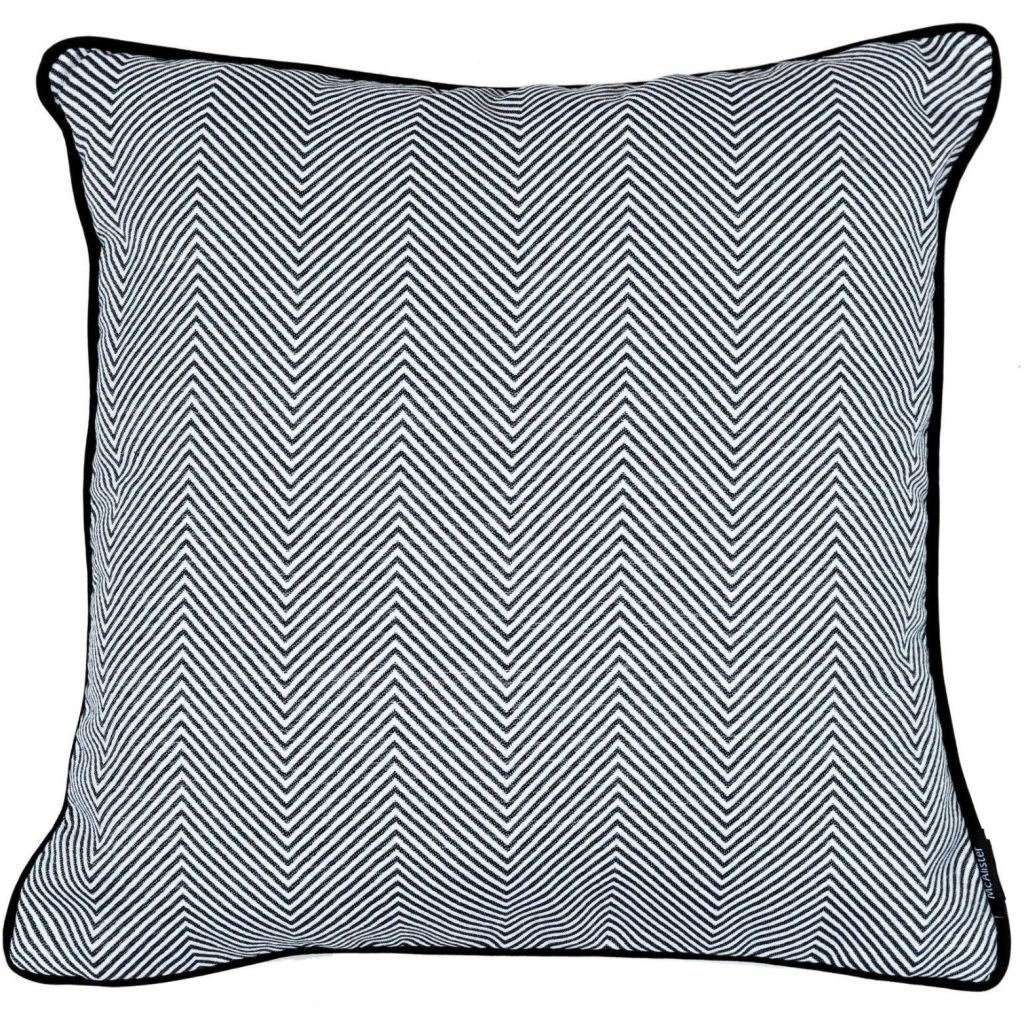McAlister Textiles Herringbone Twill Black + White Cushion Cushions and Covers Cover Only 43cm x 43cm