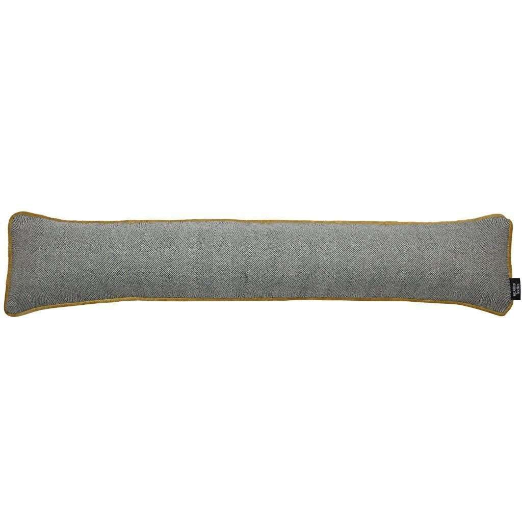 McAlister Textiles Herringbone Boutique Grey + Yellow Draught Excluder Draught Excluders