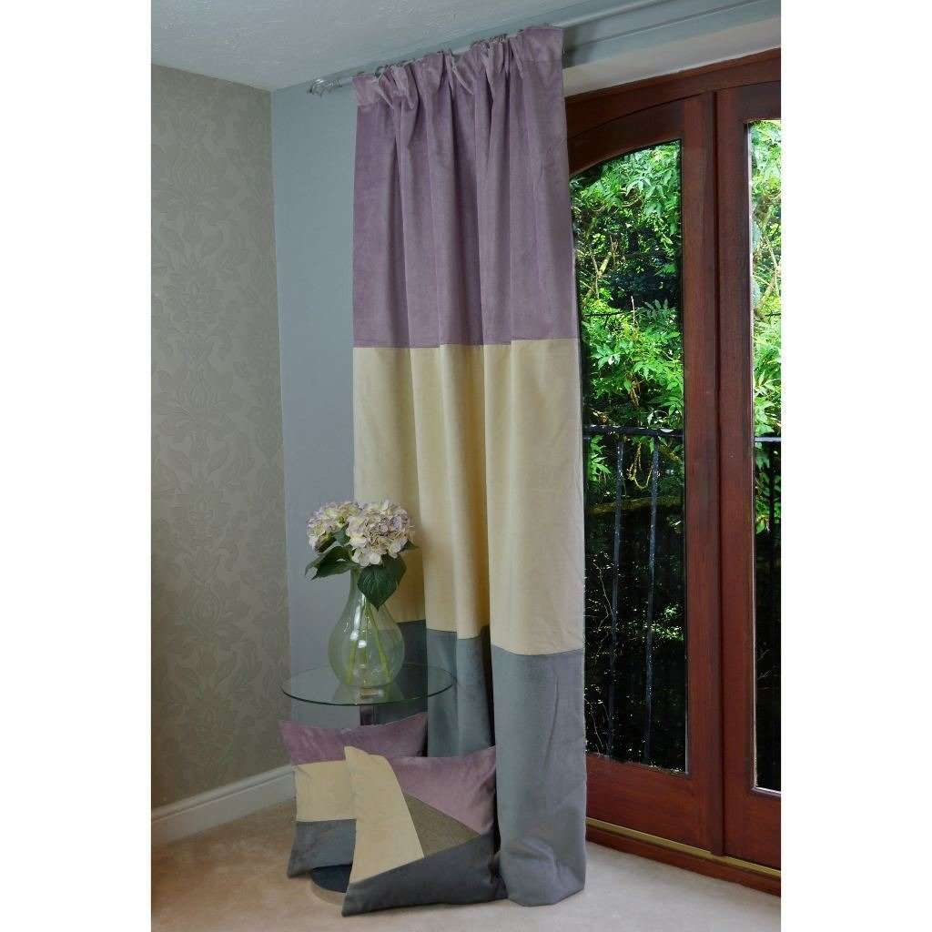 McAlister Textiles Patchwork Velvet Purple, Gold + Grey Curtains Tailored Curtains