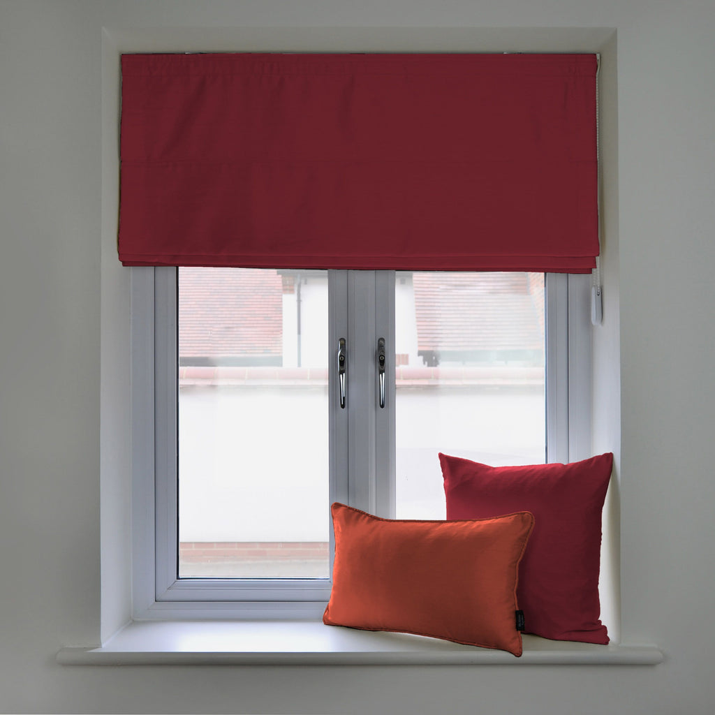 McAlister Textiles Rocco Faux Silk Wine Red Roman Blinds Roman Blinds