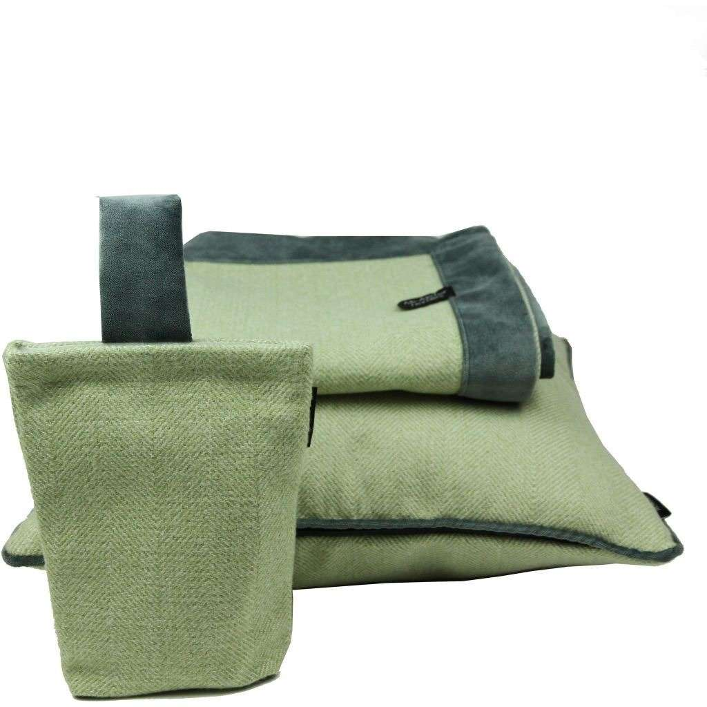McAlister Textiles Herringbone Boutique Green + Grey Throw Blanket Throws and Runners