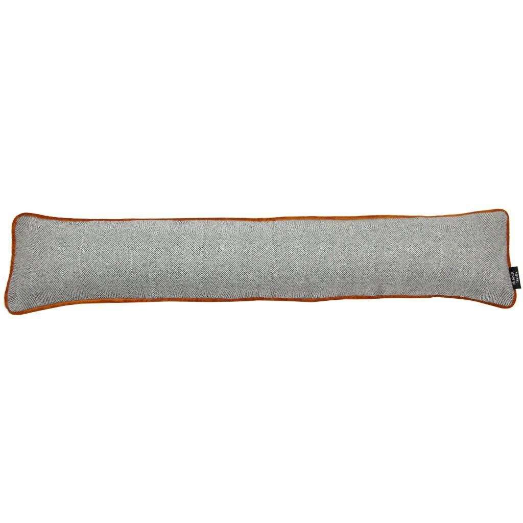 McAlister Textiles Herringbone Boutique Grey + Orange Draught Excluder Draught Excluders