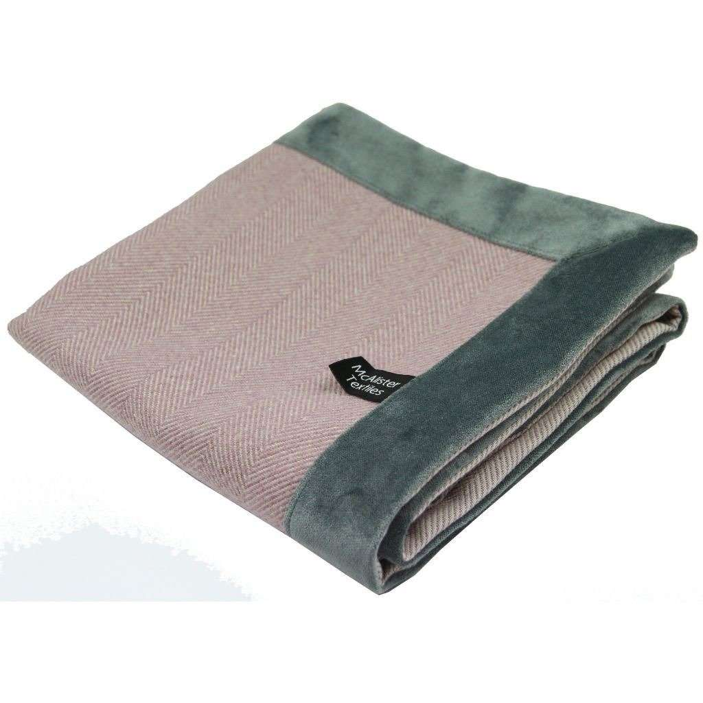 McAlister Textiles Herringbone Boutique Purple + Grey Throw Blanket Throws and Runners Regular (130cm x 200cm)