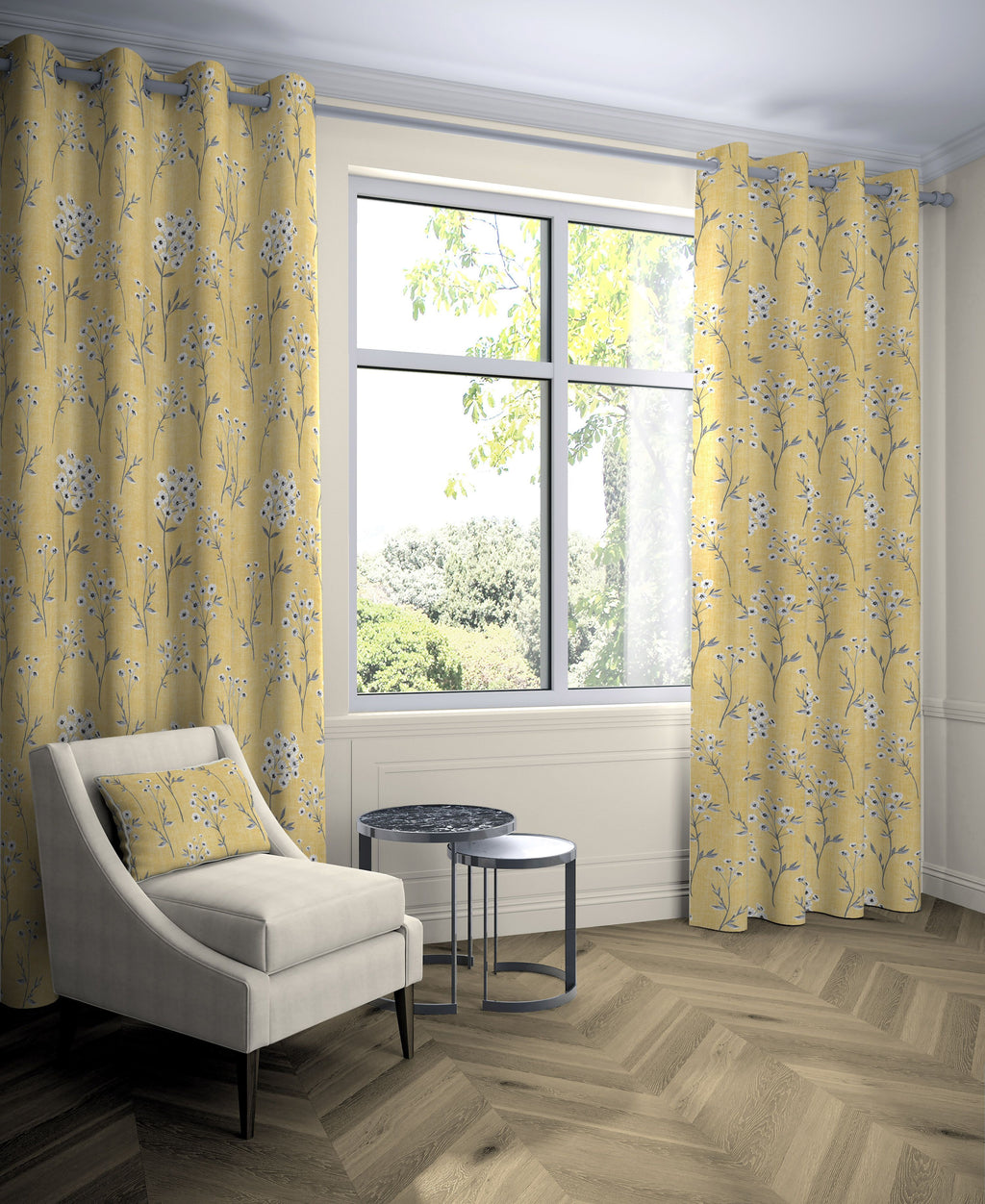 "McAlister Textiles Meadow Yellow Floral Cotton Print Curtains Tailored Curtains 116cm(w) x 137cm(d) (46"" x 54"")"