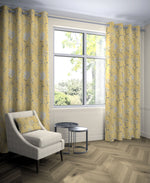 Carica l'immagine nel visualizzatore di Gallery, McAlister Textiles Meadow Yellow Floral Cotton Print Curtains Tailored Curtains
