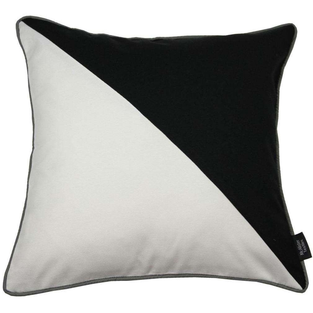 McAlister Textiles Panama Patchwork Black + White Cushion Cushions and Covers Cover Only 43cm x 43cm