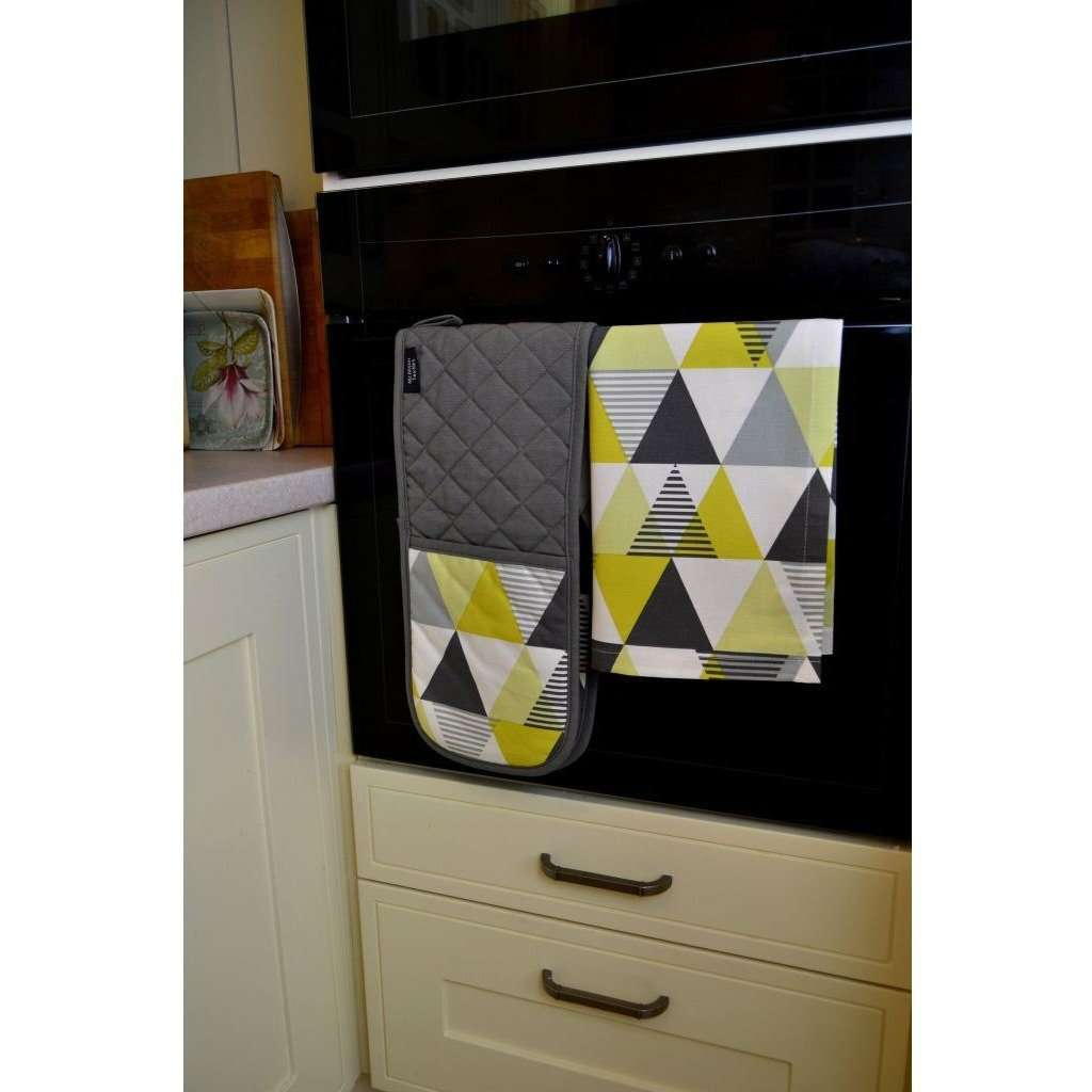 McAlister Textiles Vita Yellow Cotton Print Double Oven Mitts Kitchen Accessories