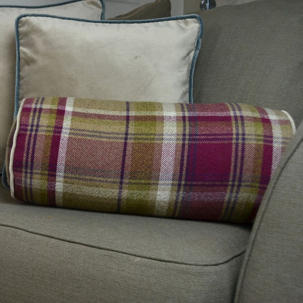 McAlister Textiles Deluxe Tartan Purple + Green Bolster Pillow 45cm x 20cm Bolster Cushion
