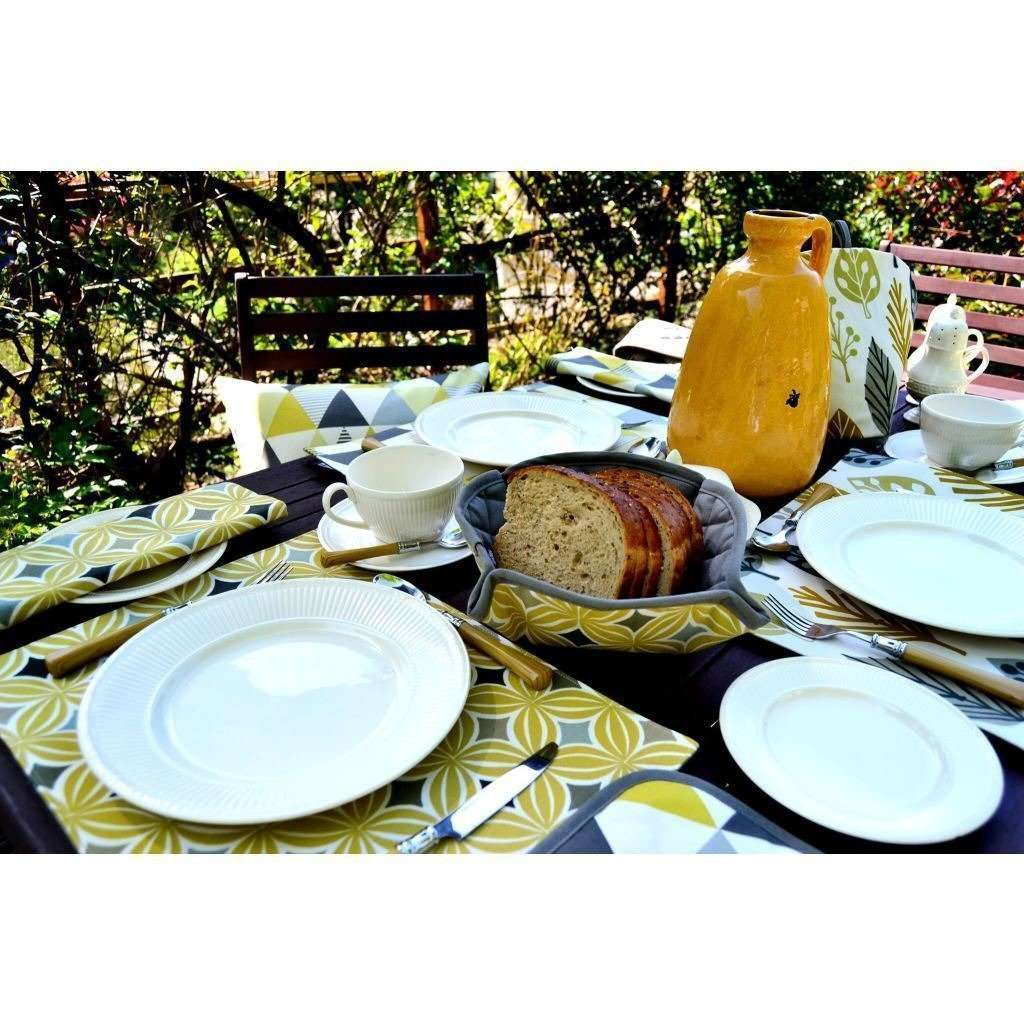 McAlister Textiles Magda Ochre Yellow Cotton Placemat Set Kitchen Accessories