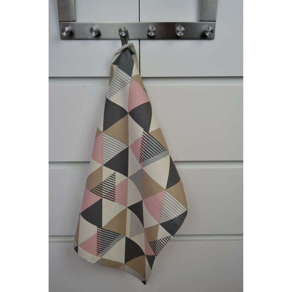 McAlister Textiles Vita Geometric Cotton Tea Towel Set - Blush Pink Kitchen Accessories