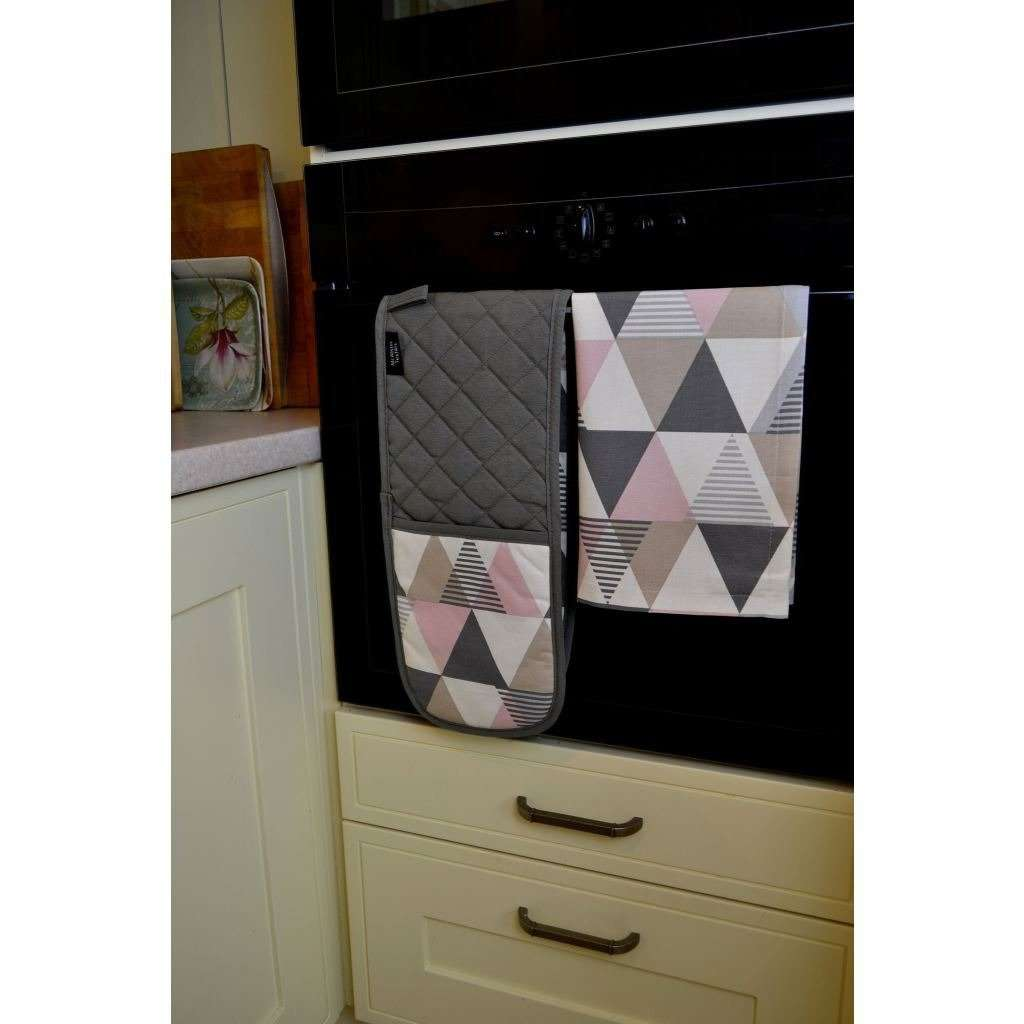 McAlister Textiles Vita Pink Cotton Print Double Oven Mitts Kitchen Accessories