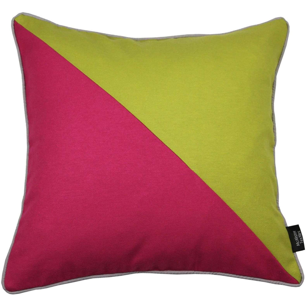 McAlister Textiles Panama Patchwork Lime Green + Fuchsia Pink Cushion Cushions and Covers Cover Only 43cm x 43cm