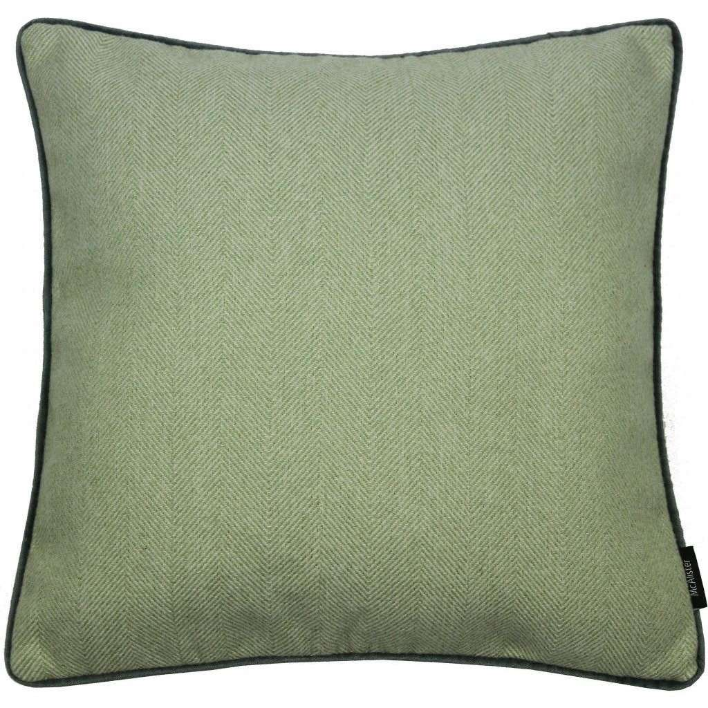 McAlister Textiles Herringbone Boutique Green + Grey Cushion Cushions and Covers Cover Only 43cm x 43cm