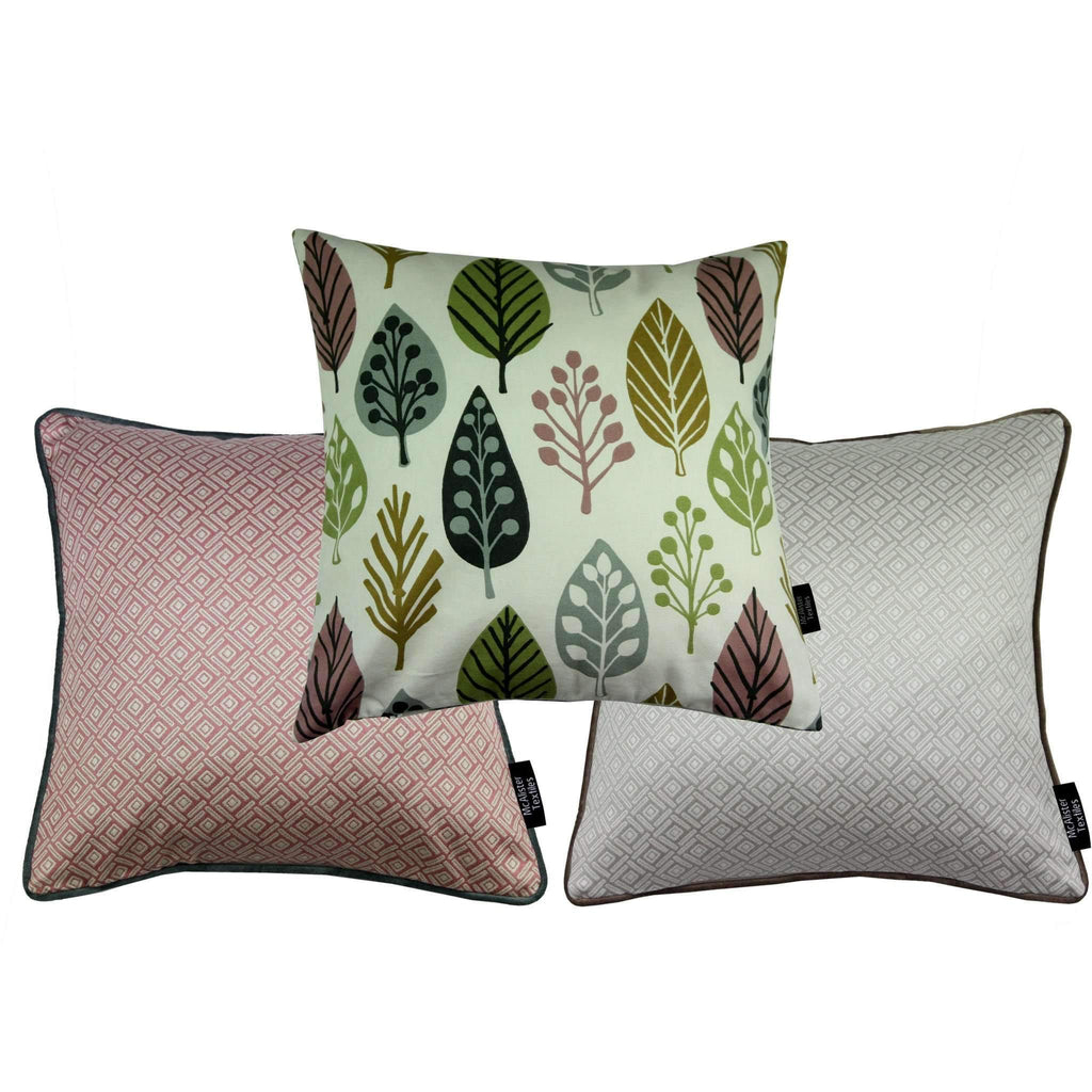 McAlister Textiles Scandinavian Blush Pink 43cm x 43cm Cushion Set of 3 Cushions and Covers Cushion Cover