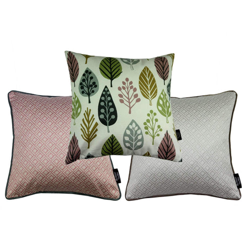 McAlister Textiles Magda + Elva Cushion Set of 3 - Blush Pink + Grey-Cushions and Covers-