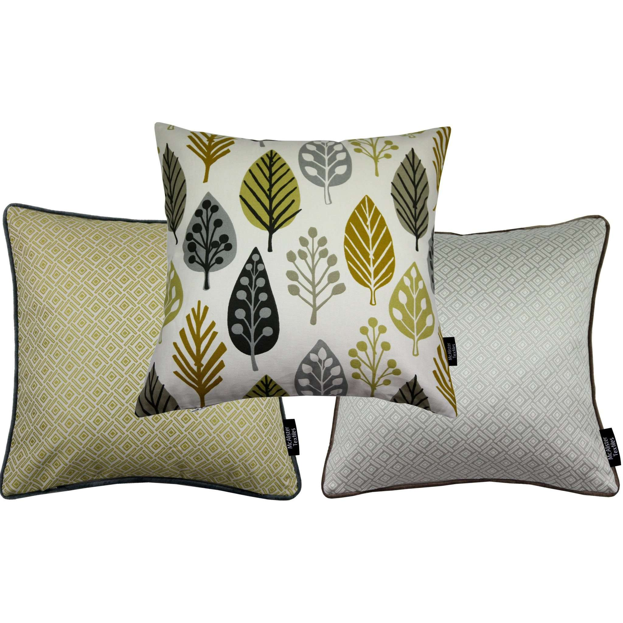McAlister Textiles Scandinavian Yellow + Grey 43cm x 43cm Cushion Set of 3 Cushions and Covers Cushion Cover