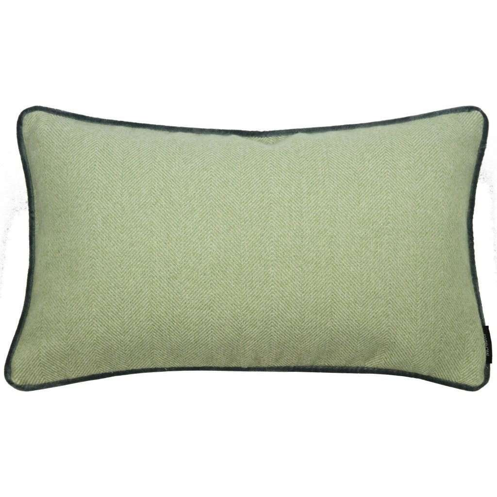 McAlister Textiles Herringbone Boutique Green + Grey Cushion Cushions and Covers Cover Only 50cm x 30cm