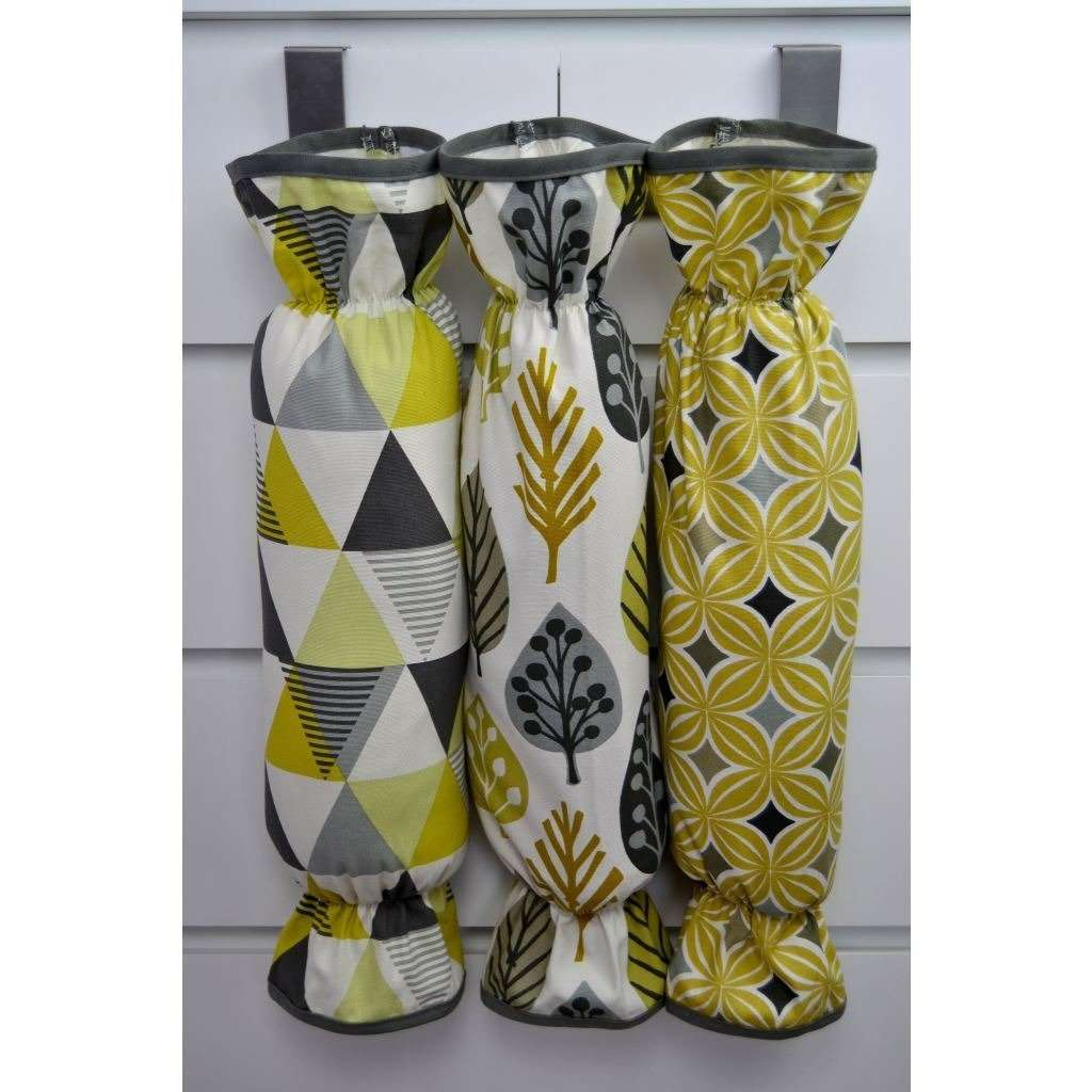 McAlister Textiles Vita Ochre Yellow Carrier Bag Holder Kitchen Accessories