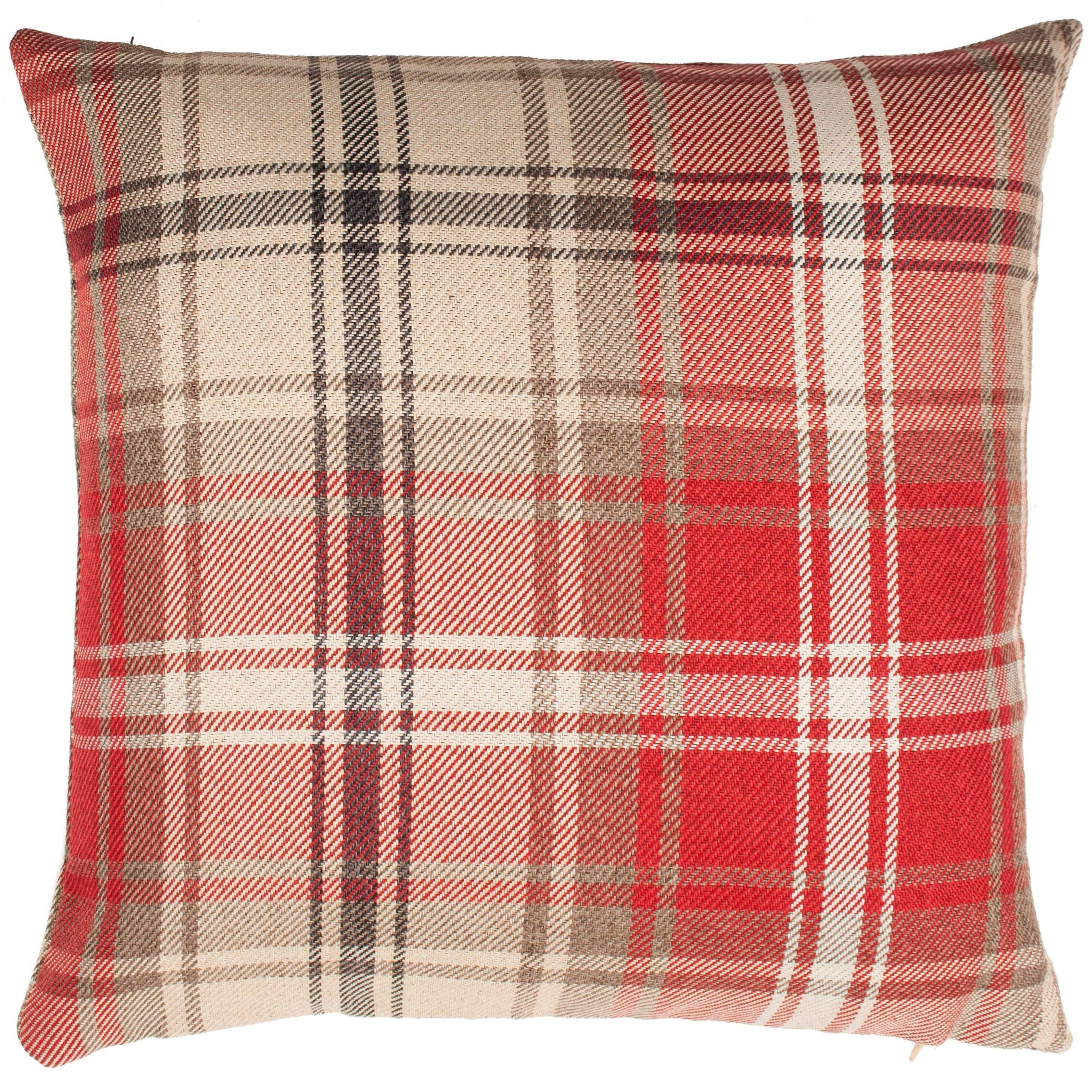 McAlister Textiles Angus Red + White Tartan Pillow Pillow Cover Only 43cm x 43cm