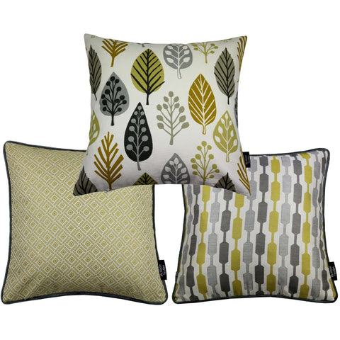 McAlister Textiles Copenhagen Funky Cushion Set of 3 - Ochre Yellow-Cushions and Covers-