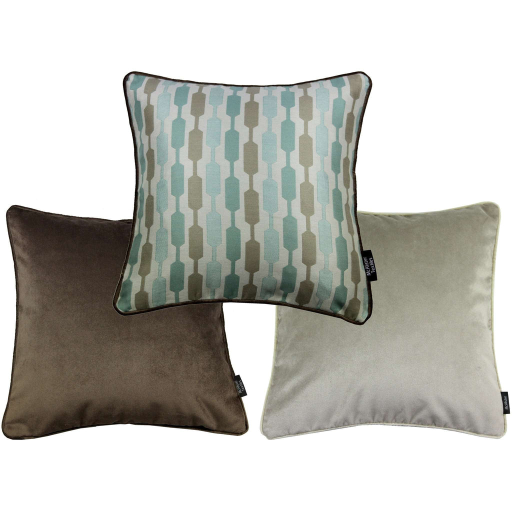 McAlister Textiles Duck Egg Blue Geometric and Plain Velvet 43cm x 43cm Cushion Set of 3 Cushions and Covers Cushion Cover
